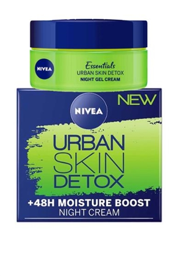 Nivea Urban Skin Detox Night Gel Cream +48h Moisture Boost 50ml Anti Oxidants and Green Tea