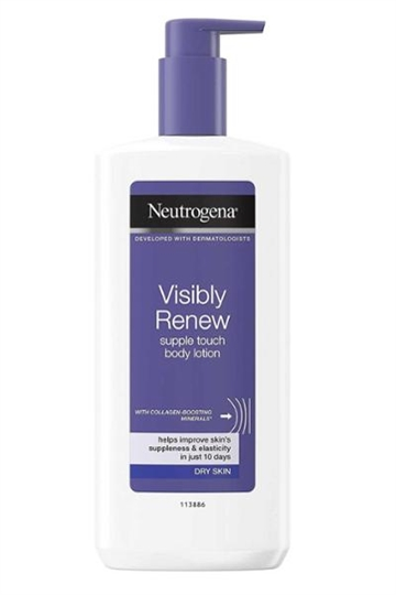 Neutrogena Visibly Renew Body Lotion Supple Touch 400ml Dry Skin Collagen Boost Minerals